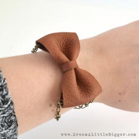 Chained Leather Bow Bracelet Tutorial