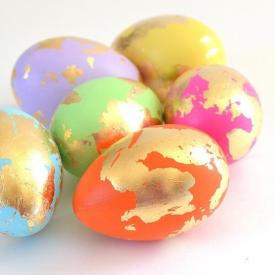 Abstract and Gold Leaf Easter Eggs