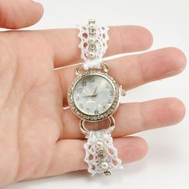 Lace, Pearl and Rhinestone Watch DIY