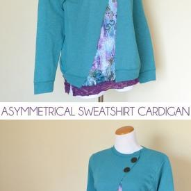 Sweatshirt to Asymmetrical Cardigan Makeover