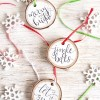 Super Easy Hand-Lettered Wood Slice Christmas Ornaments