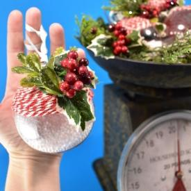 Baker's Twine and Holly Rustic Christmas Ornaments