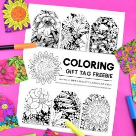 Free Floral Gift Tags to Color