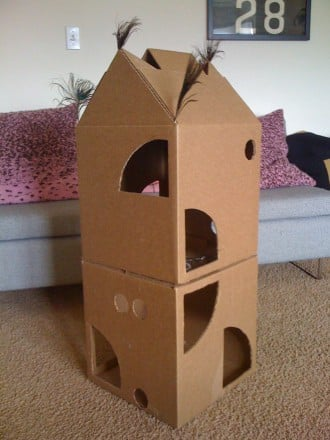 How to build a cat condo out of cardboard for Castle cat tower