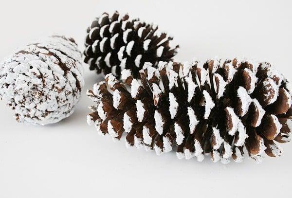 Faux Snowy Pinecones - Winter Decor DIY