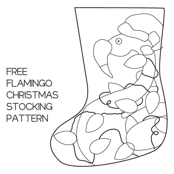 FREE flamingo caught up in Christmas lights stocking pattern - Dream a Little Bigger