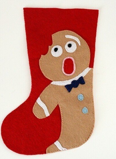Felt Christmas Stocking Pattern Distressed Gingerbread Man
