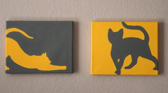 Paint some simple cat silhouettes. Free patterns and tutorial at Dream a Little Bigger