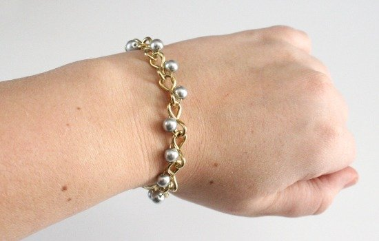Dainty up some hardware store chain with pearls. DIY at Dream a Little Bigger