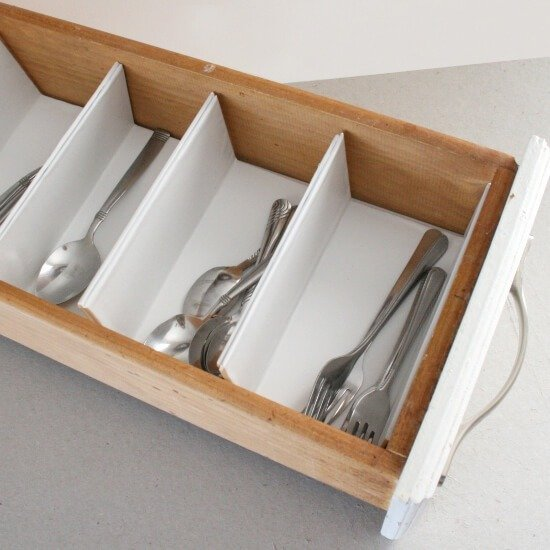 Making a custom drawer organizer is so cheap and easy with cardboard. Dream a Little Bigger.