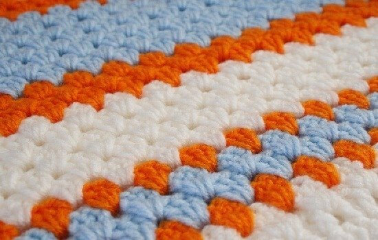 Instead of granny squares, do the same crochet stitch, but in a straight line. Dream a Little Bigger.
