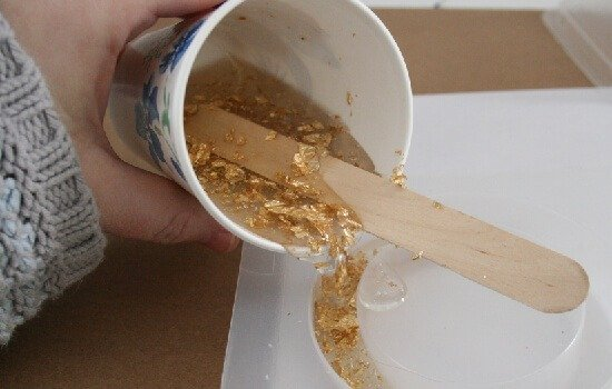 Gold leaf flecked acrylic bangle tutorial at Dream a Little Bigger