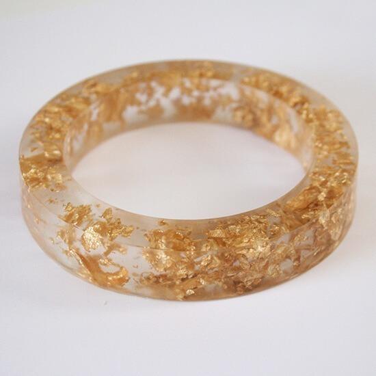 Gold leaf flecked acrylic bangle tutorial at Dream a Little Bigger