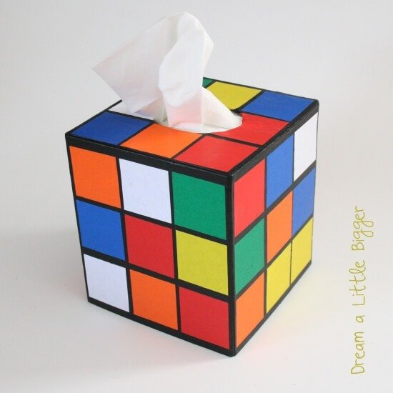 rubik 39 s cube tissue box cover tutorial dream a little bigger. Black Bedroom Furniture Sets. Home Design Ideas