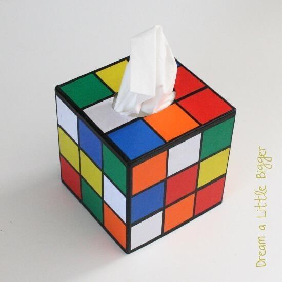 DIY to make a Rubik's Cube tissue holder like on Big Bang Theory!