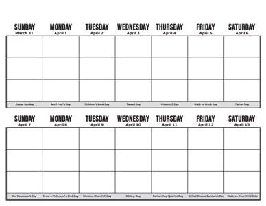 two week calendar printable