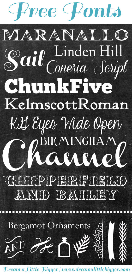 Fabulous, free chalkboard fonts shared by Dream a Little Bigger