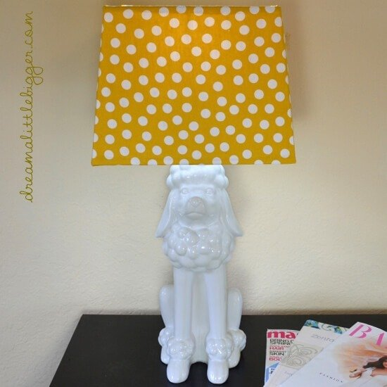 Update a homemade lamp with paint an a fabric covered lamp shade