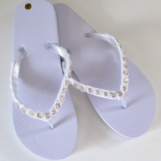 Turn a pair of cheapies into fantastic rhinestone flip flops. Bling!