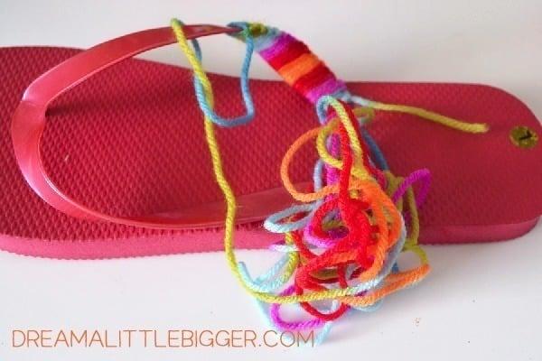 614343a3a1fdb0 Yarn Wrapped Flip Flops Tutorial! - Dream a Little Bigger