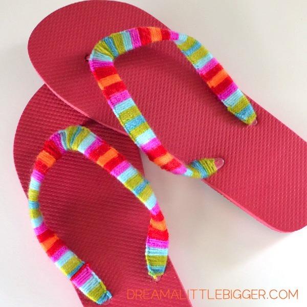 Yarn wrapped flip flops tutorial dream a little bigger for Flip flops for crafts