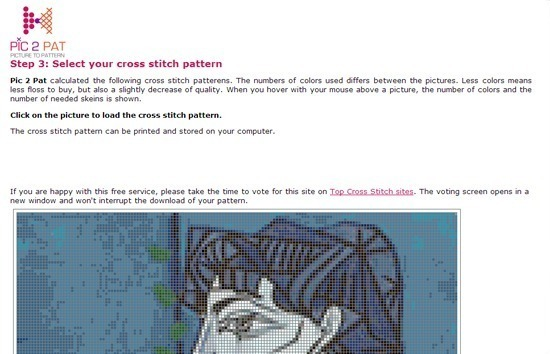 Pic 2 Pat - Make a Cross Stitch Chart From Photos for Free