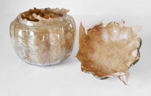 Fall Decor, Craft Paper Decoupage Glass Pumpkin Tutorial