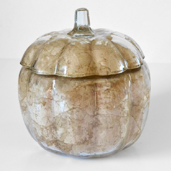 Fall Decor, Craft Paper Decoupage Glass Pumpkin Tutorial