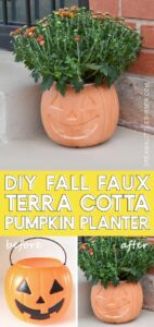 Turn a plastic pumpkin candy bucket into a faux terra cotta paint with a few craft supplies. This is so cool!