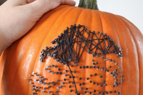 No Carve Pumpkins - Zombie String Art