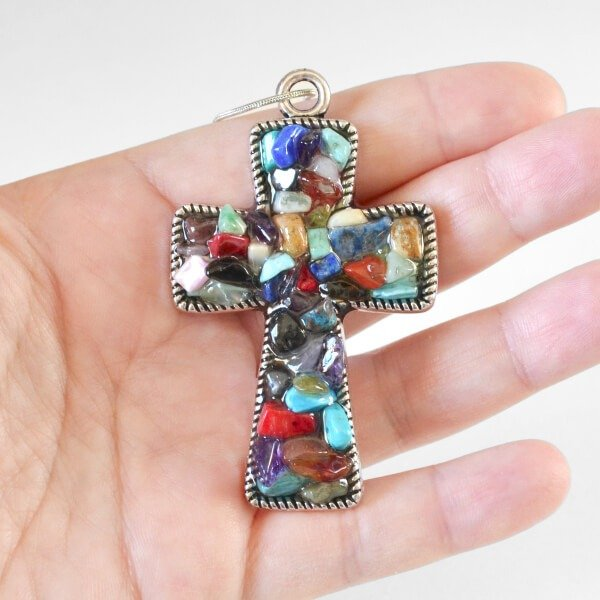 Natural Stone Filled Bezel Cross Pendant Tutorial