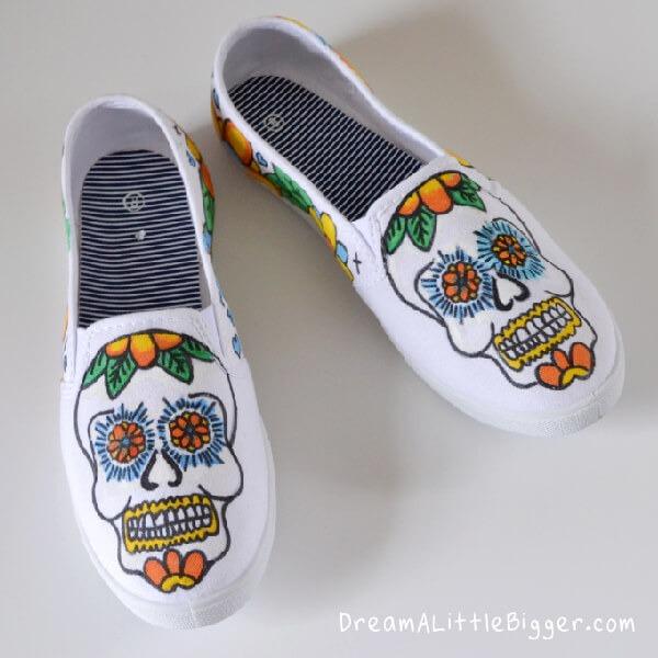 Sugar Skull Sneakers Tutorial by DreamALittleBigger.com