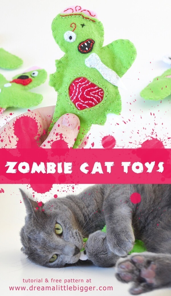 Felt zombie catnip filled cat toys tutorial dream a little bigger