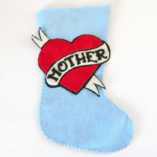 Vintage Mother Felt Stocking Pattern for Tattooed Martha by www.dreamalittlebigger.com