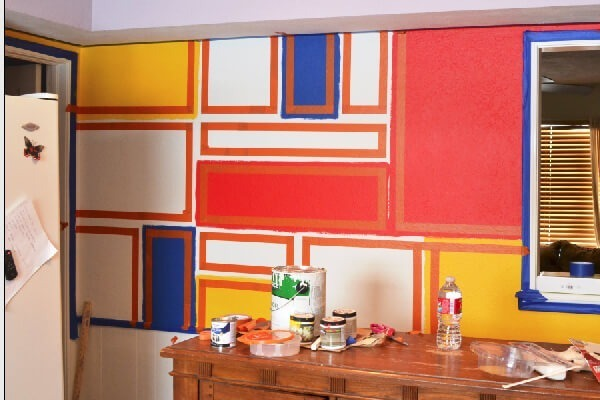 mondrian wall mural tutorial dream a little bigger hexagon painted wall mural tutorial the brave life