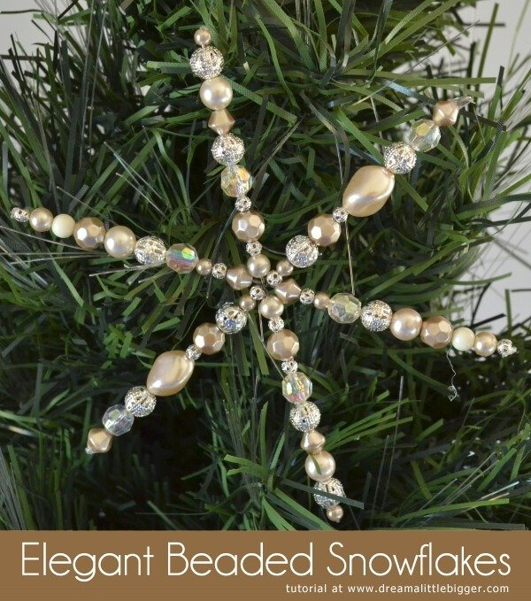 These gorgeous beaded snowflake Christmas ornaments are a snap to make!