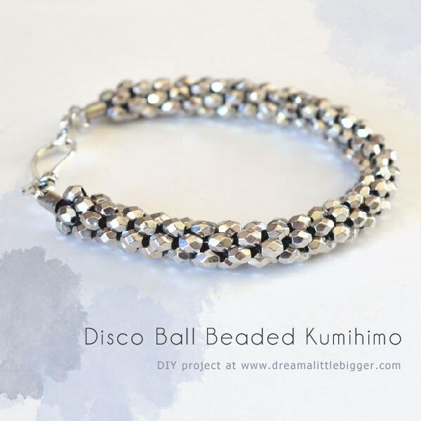 Disco Ball Beaded Kumihimo Bracelet