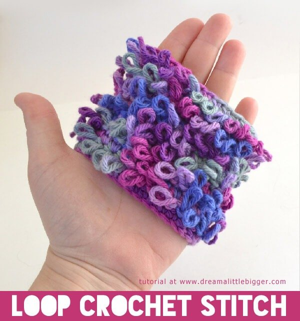 "This loop crochet stitch makes a loopy fabric that is too cute. Strands an be cut for a ""hairy"" look, too!"