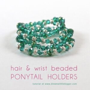 These hair and wrist beaded ponytail holders are super easy to make. Save big bucks and decimate that bead stash at the same time!