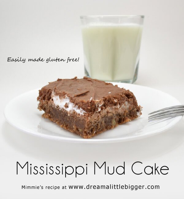Mississippi Mud cake is a southern tradition of chocolate, marshmallow and pecans. This super rich cake is easy to whip up and divine with a glass of milk.