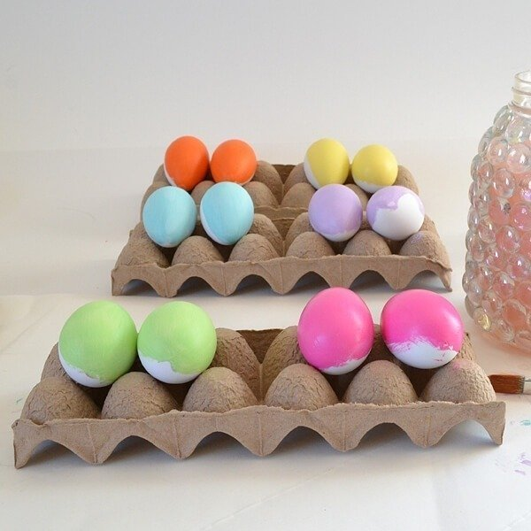 Vibrant paint colors and gold leaf make some modern and unique Easter Eggs. Extra bonus, they'll last forever!