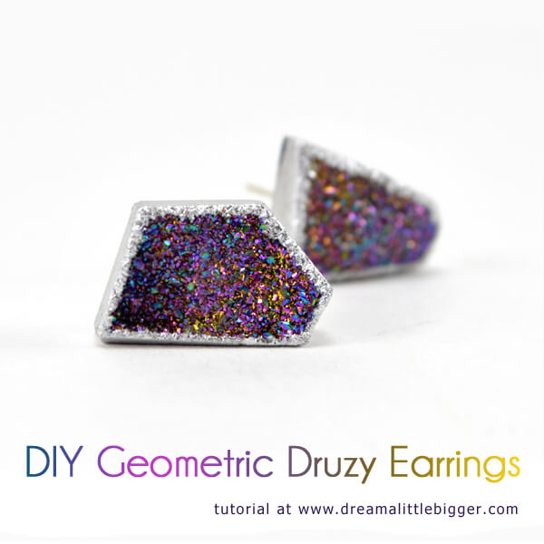 DIY Geometric Druzy Earrings - So pretty and so easy!