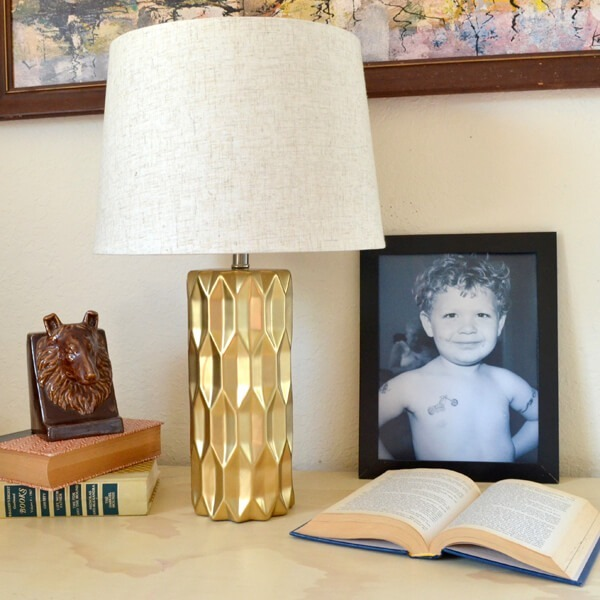 Make your own faceted gold lamp and save big bucks. This one was only $30 for the lamp, paint and shade. Genius!
