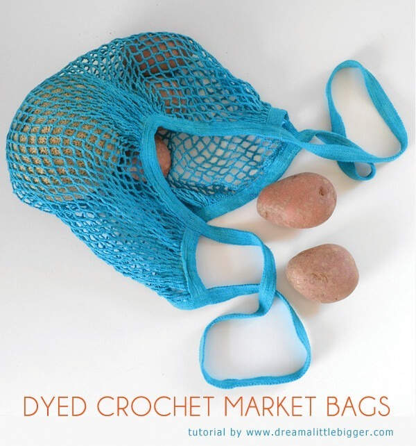Don't know how to crochet? You can still make nifty reusable crochet market bags in fun, bright colors!