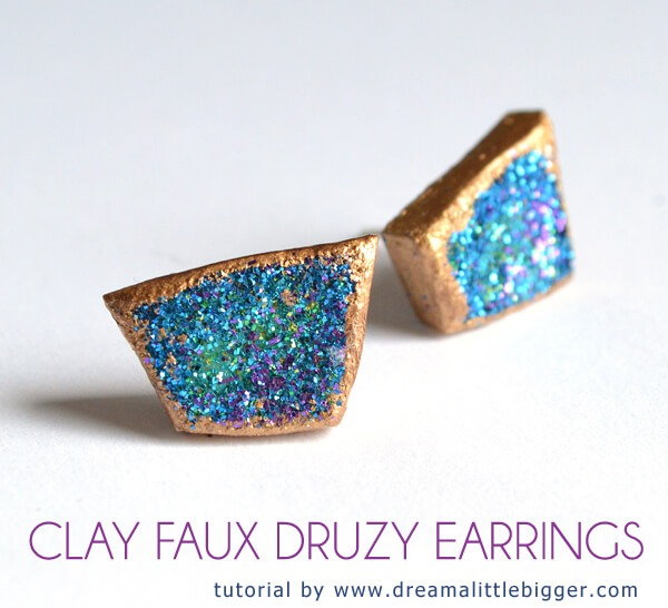 Lightweight, inexpensive to make and super easy! Clay Faux Druzy!