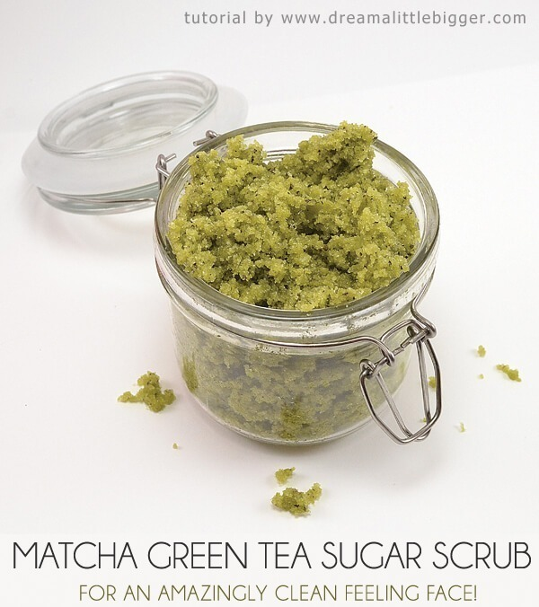 DIY green tea scrub with matcha! Great for clearing acne and making skin feel tight and smooth!