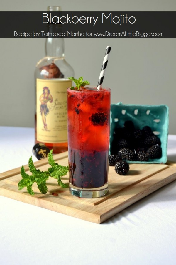 Check out this fab cocktail recipe for a blackberry mojito using Sailor Jerry from Tattooed Martha. It's SO good!