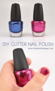 Make your own DIY glitter nail polish! Any color is possible with Tulip Glitters!
