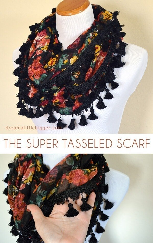 This tasseled scarf is totally easy to DIY and is a knock off from a high end shop saving a whopping $107.50 by DIY!