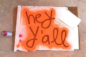 You can make a custom text door mat to say absolutely anything. Hey y'all! So neat!